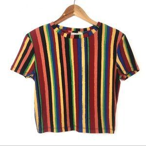 Zara Trafaluc | Colorful Striped Crop Top
